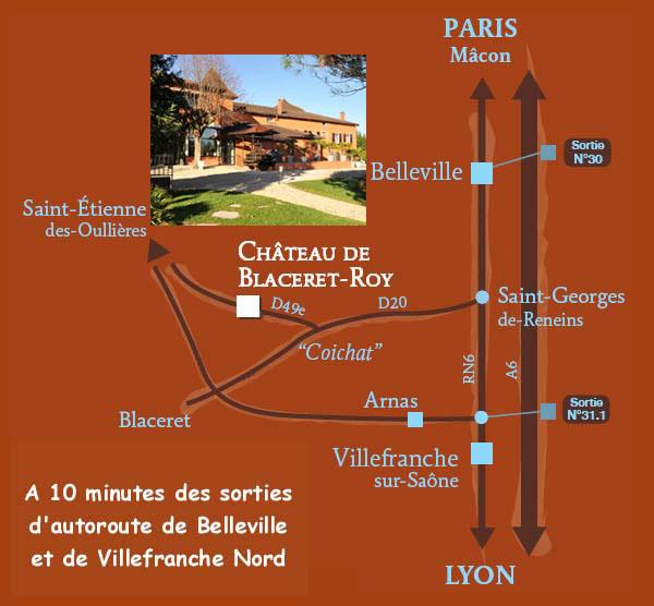 Plan d'Accès au Château de Blaceret Roy en Beaujolais